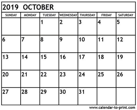 Calendar 2019 October October 2019 Calendar Printable