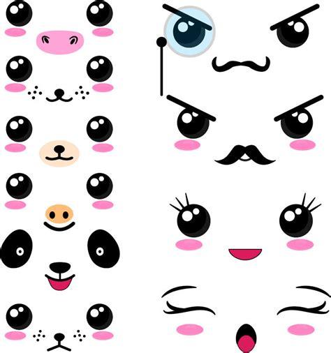 imagenes de ojos kawaii 40 png files kawaii faces set 2 digital clip art graphics