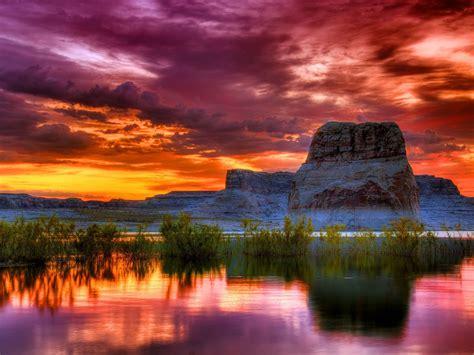 arizona sunset scenery lake rocky mountains orange clouds reflection  water  wallpaper high