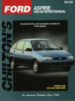 car repair manuals online free 1994 ford aspire security system 1994 1997 ford aspire chilton s total car care manual