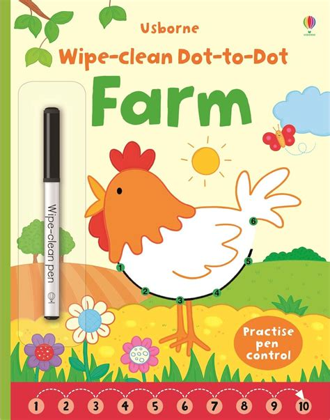 dot picture book wipe clean dot to dot farm at usborne children s books