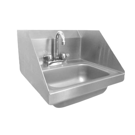 wall mount stainless steel 17 in 2 hole single basin