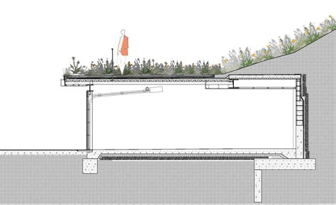 roof garden detail section railing on green roof in section detail google search