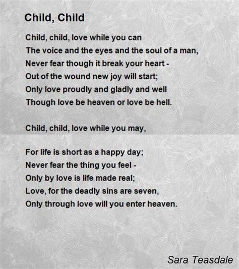 poem for child child child poem by teasdale poem comments