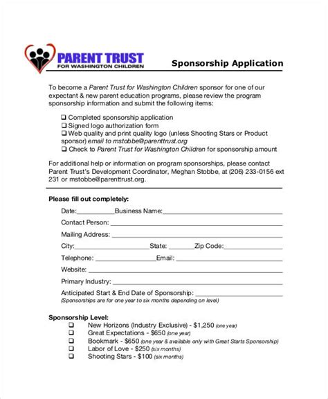sponsor application template 8 sponsorship application templates free sle