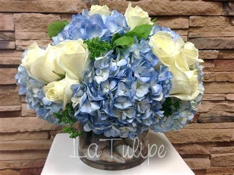 blue flower centerpiece blue hydrangea flower arrangements eatatjacknjills
