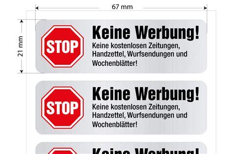Werbung Aufkleber by Keine Werbung Aufkleber Stop Briefkastenwerbung