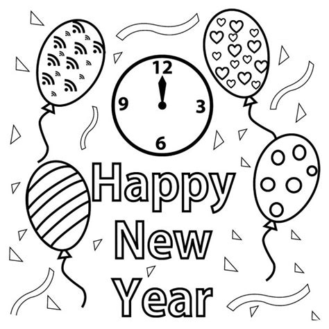 new year colouring in free happy new year colouring pages for
