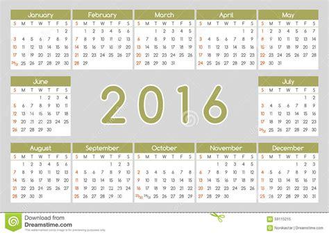 Calendrier Numéro Semaine 2016 Conception Du Calendrier 2016 Illustration De Vecteur