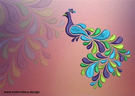 tattoo embroidery designs colored peacock embroidery design