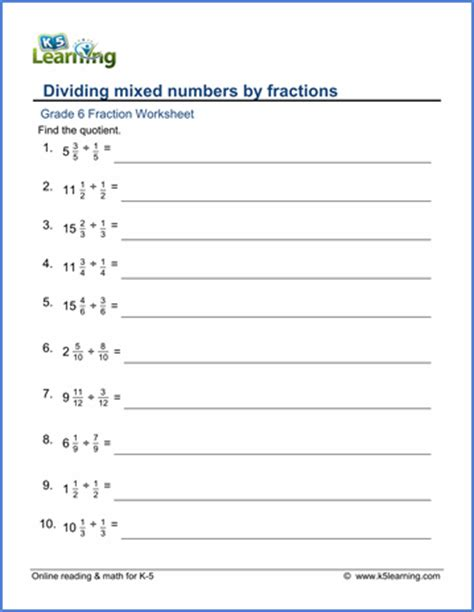 grade 6 math worksheet fractions dividing mixed numbers