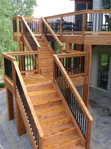 Back Stairs Design High Deck With Staircase With Landing Railing Deck Stairs Stains