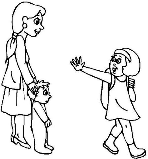 boy waving coloring page good family cliparts free download clip art free clip