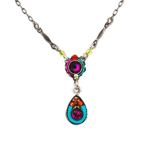 multi color mini mosaic teardrop necklace 8579 firefly