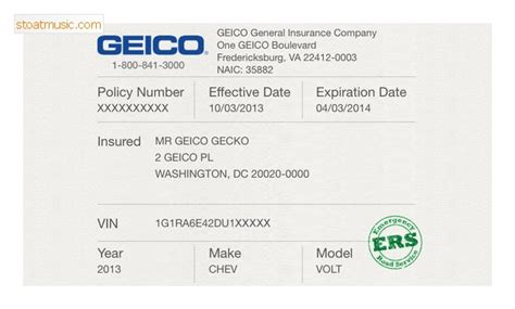 Florida Auto Insurance Card Template by Geico Insurance Card Template Stoatmusic