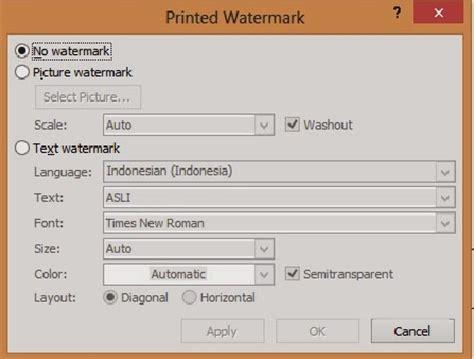 membuat watermark pada ms word 2007 pondok microsoft office cara membuat watermark berupa