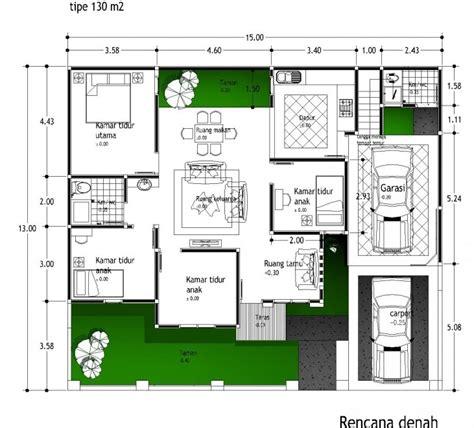 denah rumah minimalis  lantai  kamar tidur  dilengkapi garasi mobil disain rumah kita