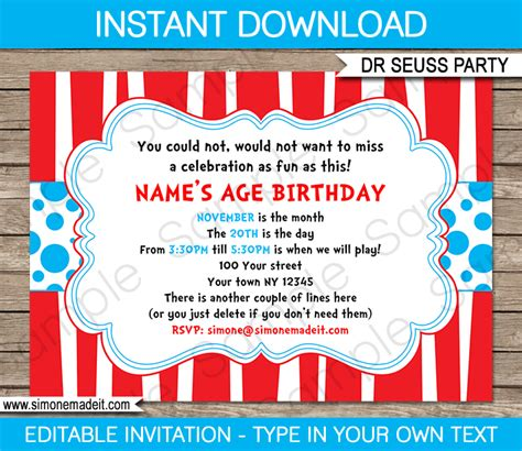 Dr Seuss Party Invitations Birthday Party Template Birthday Invitation Editable Templates