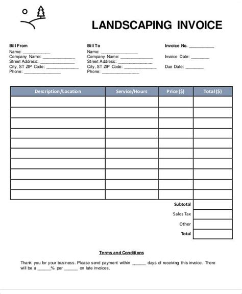 6 Landscaping Invoice Sles Exles In Pdf Word Excel Sle Templates Landscaping Bill Template