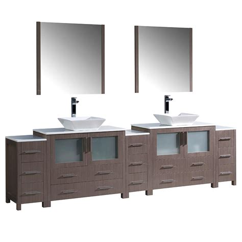 gray mirrored vanity with statuary marble top fresca torino 108 in double vanity in gray oak with glass