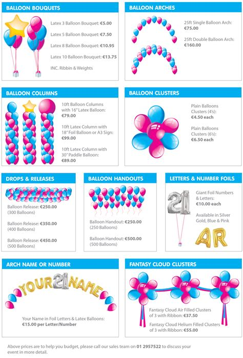 Wedding Decorator Prices by Balloon Decorating Price List Myideasbedroom