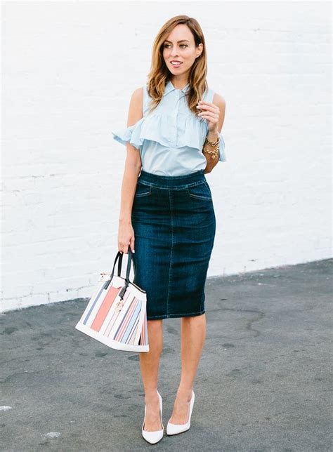 how to wear a denim skirt to the office sydne style