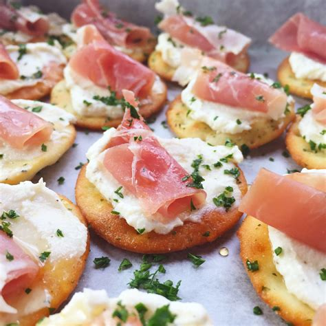 appetizers ideas ricotta and prosciutto cracker appetizer seasonly creations