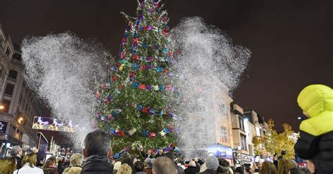 real christmas trees liverpool crowds turned out for snowflake trail and church tree lights switch on