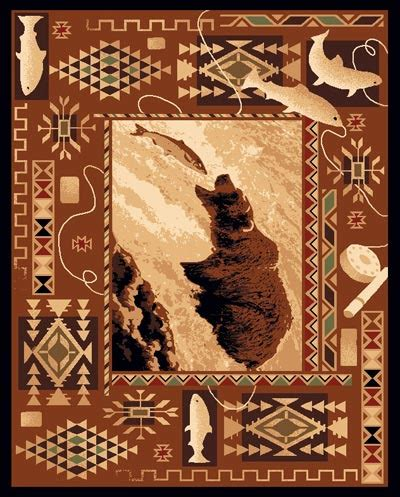western themed rugs lodge and fish western theme 5x8 area rug carpet great gift idea ebay