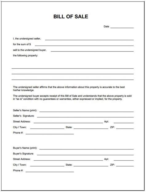Free Bill Of Sale Template Ga by Bill Of Sale For Car In Ga Template Business