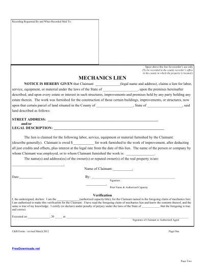 lein template blank mechanics lien template pdf rtf word