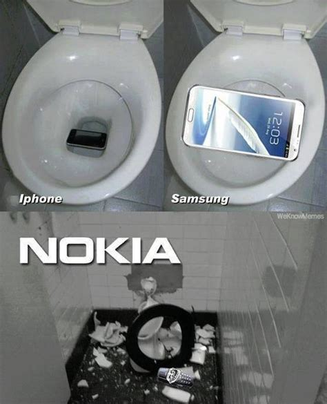 Nokia Brick Phone Meme - iphone vs samsung vs nokia weknowmemes