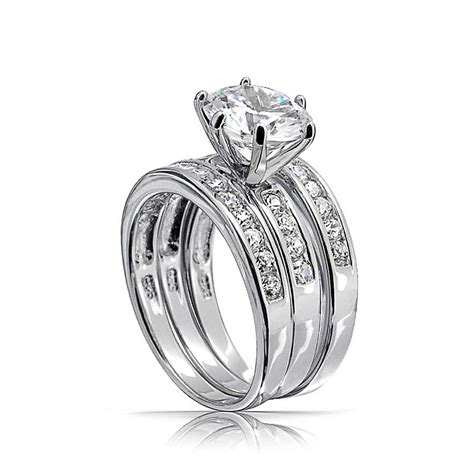 3piece ring cut cz 3 bridal engagement ring set sterling