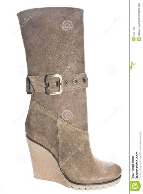 s suede low boots with high heels brown color