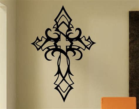 tribal tattoo writing tribal cross wall decal religious decals christian