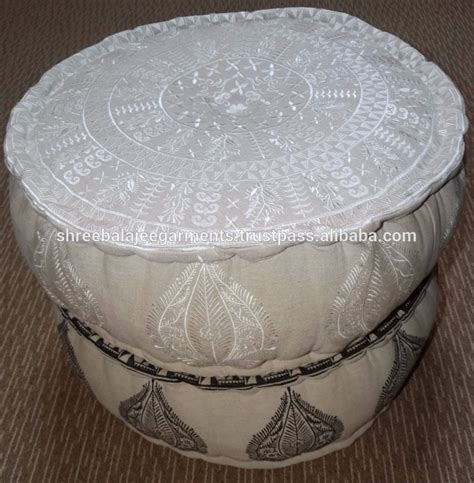 Indian Pouf Large Round Ottoman Seat Stool Embroidered Embroidered Ottoman