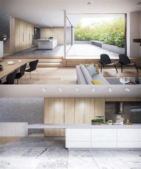 cuisine bois beton cuisine bois et blanc moderne 25 id 233 es d am 233 nagement