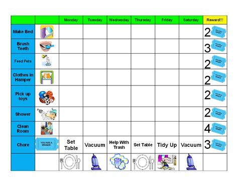 editable template for students editable chore charts chore chart pdf printable