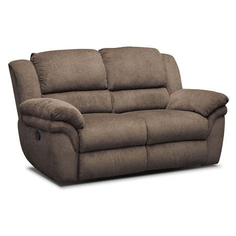 Sofas Reclining Aldo Manual Dual Reclining Sofa Loveseat And Recliner Set Mocha American Signature Furniture