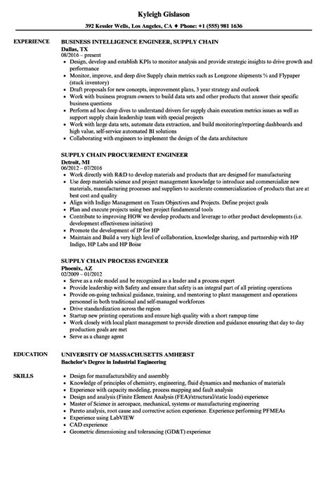 engineer supply chain resume sles velvet