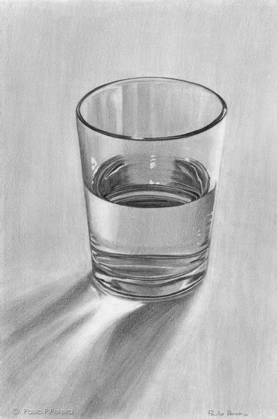 glass of water graphite drawing by pauloppereira on