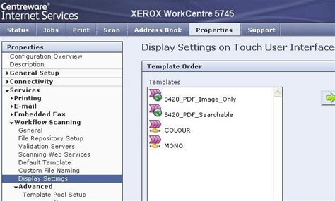 workcentre 5745 colour and mono templates on wor