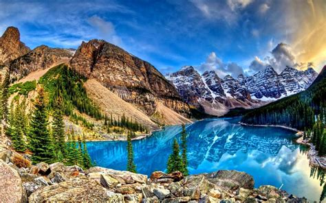 high def hd amazing blue lake reflecting the mountains wallpaper