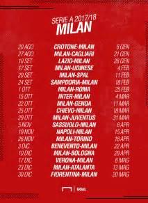 Calendario 2018 Serie A Calendario Milan Serie A 2017 2018 Partite E Date Goal