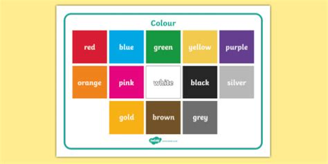 color world colour word mat