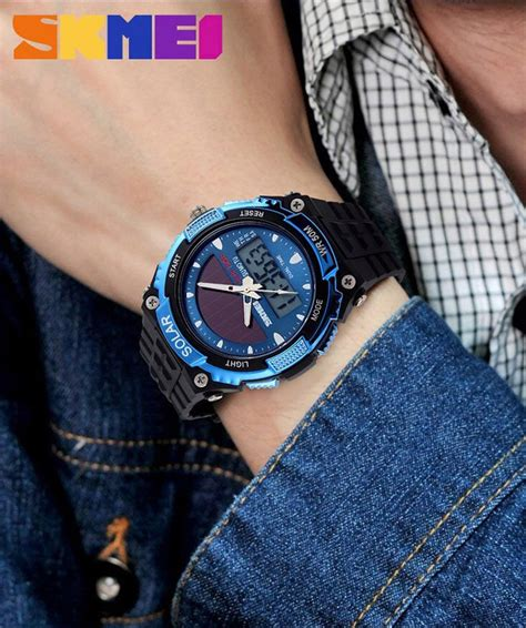 Jam Tangan Cowok Original Skmei Solar Power Water Resistant 50m skmei jam tangan solar digital analog pria ad1049e black jakartanotebook