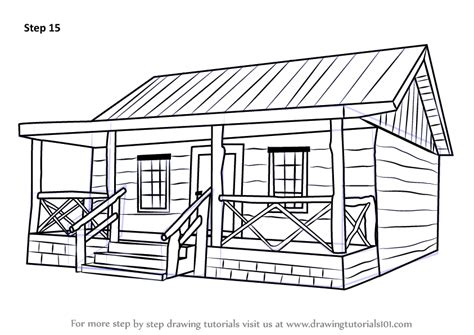 cabin sketch learn how to draw a wood cabin houses step by step
