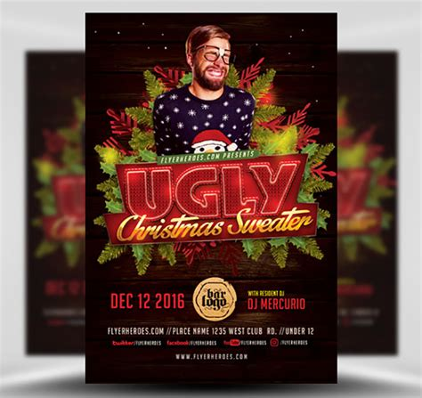 Ugly Sweater Christmas Flyer Template V2 Flyerheroes Sweater Flyer Template