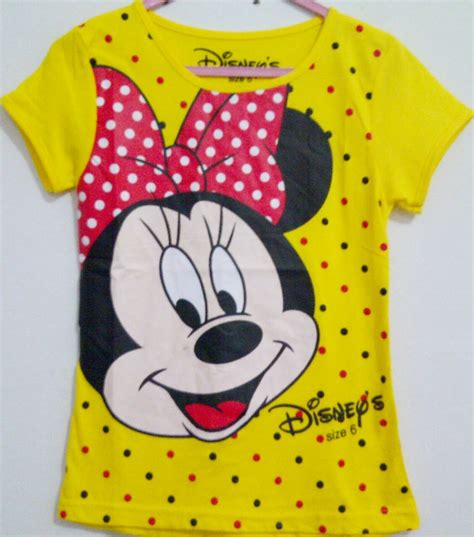 Kaos Anak Karakter Minnie by Grosir Kaos Anak Karakter Disney Minnie Polkadot Kuning