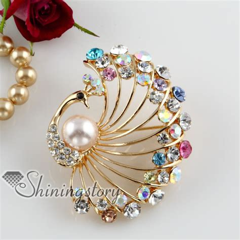 peacock colorful rhinestone scarf brooch pin jewelry wholesale